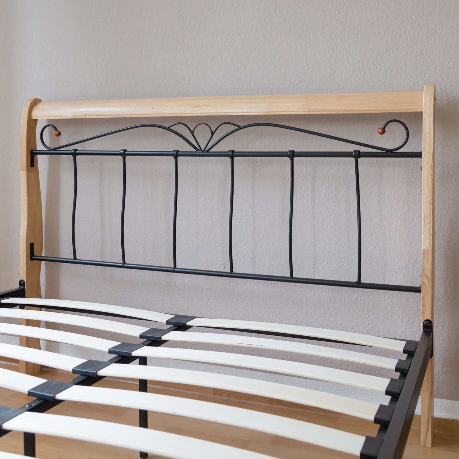 design metal lit double 160 x 200 cadre de lit lattes bois naturelle 1008 ebay. Black Bedroom Furniture Sets. Home Design Ideas