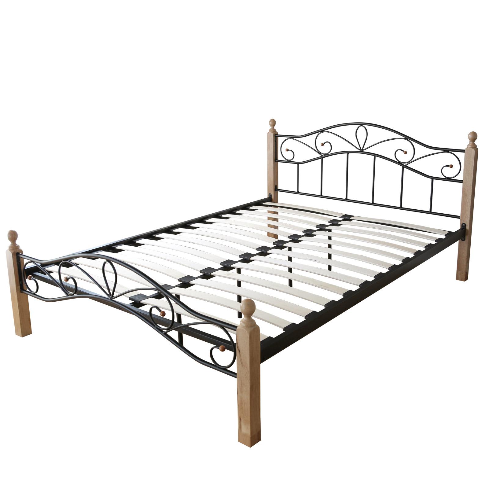 design metal lit double 140 x 200 cadre de lit lattes bois neuf 920 noir naturel ebay. Black Bedroom Furniture Sets. Home Design Ideas
