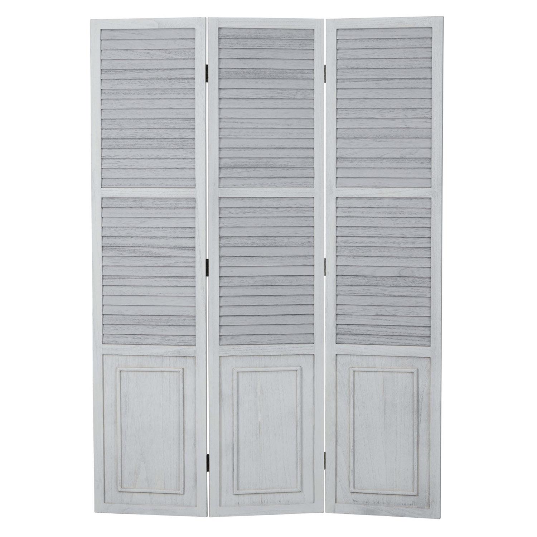 3 fach Paravent Raumteiler Holz Trennwand braun grau Muster Stoff spanische Wand