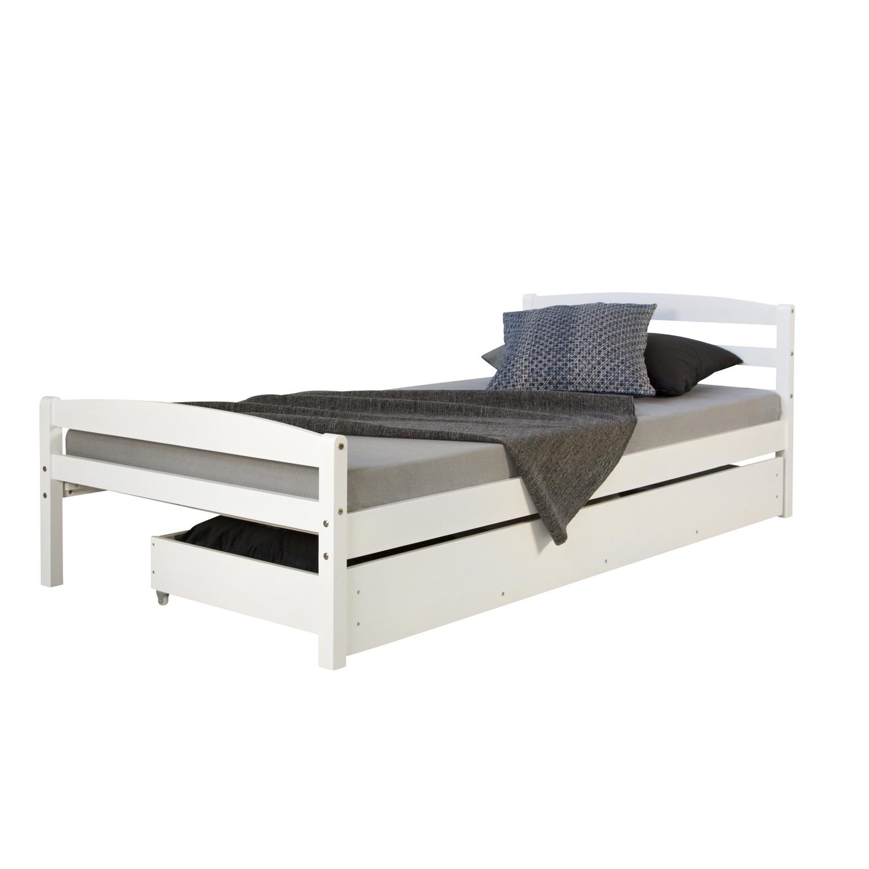 funktionsbett holzbett kinderbett jugendbett 90x200 wei bettkasten einzelbett ebay. Black Bedroom Furniture Sets. Home Design Ideas