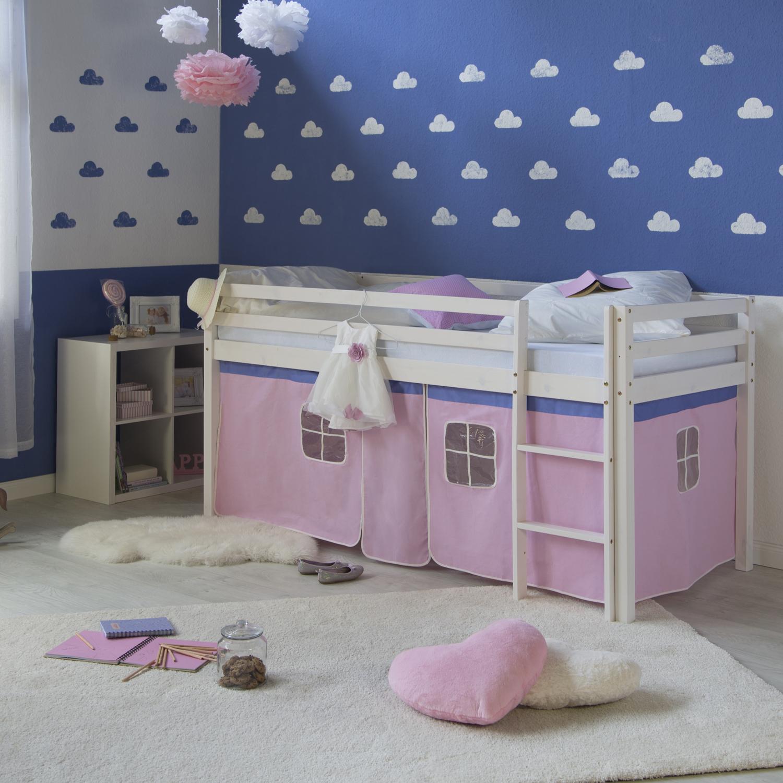 Hochbett spielbett kinderbett leiter kiefer mit vorhang pink 90x200 jugendbett ebay - Hochbett mit vorhang ...