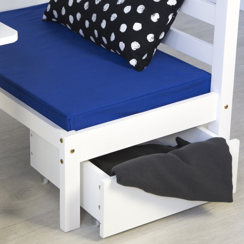 kinderbett hochbett 90x200 wei schreibtisch etagenbett sitzkissen blau ebay. Black Bedroom Furniture Sets. Home Design Ideas