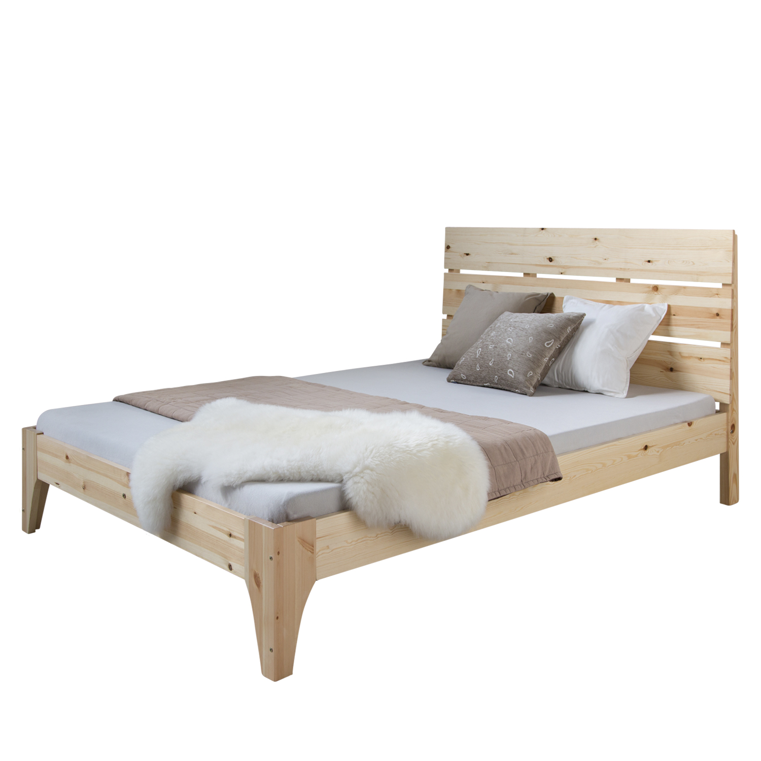doppelbett holzbett bettgestell futonbett 140x200 holz kiefer bett massivholz ebay. Black Bedroom Furniture Sets. Home Design Ideas