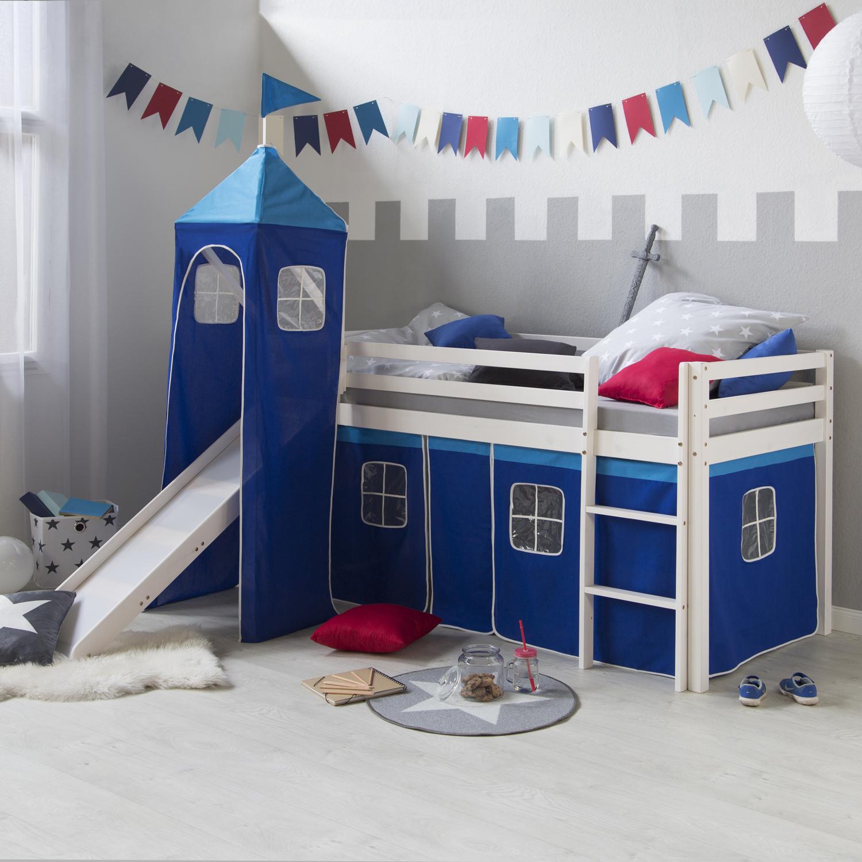 Lit superposes enfants jouez lit pin massif toboggan tour blanc rideau bleu ebay - Rideau pour lit superpose ...