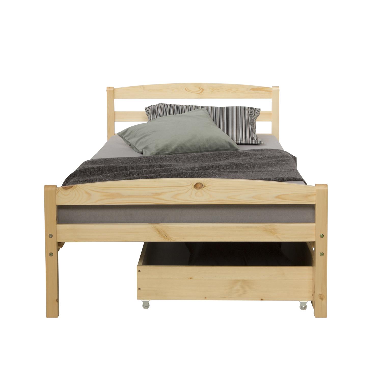 Funktionsbett Holzbett Kinderbett Jugendbett 90x200 natur Bettkasten Einzelbett