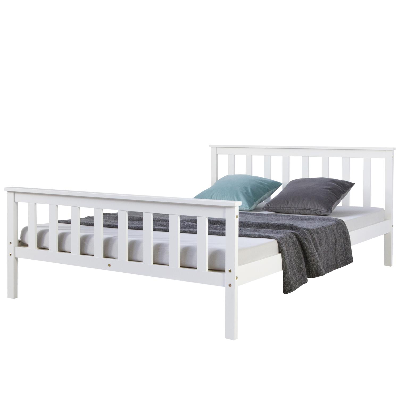 Doppelbett Holzbett Bett Bettgestell 140x200 Weiss Kiefer