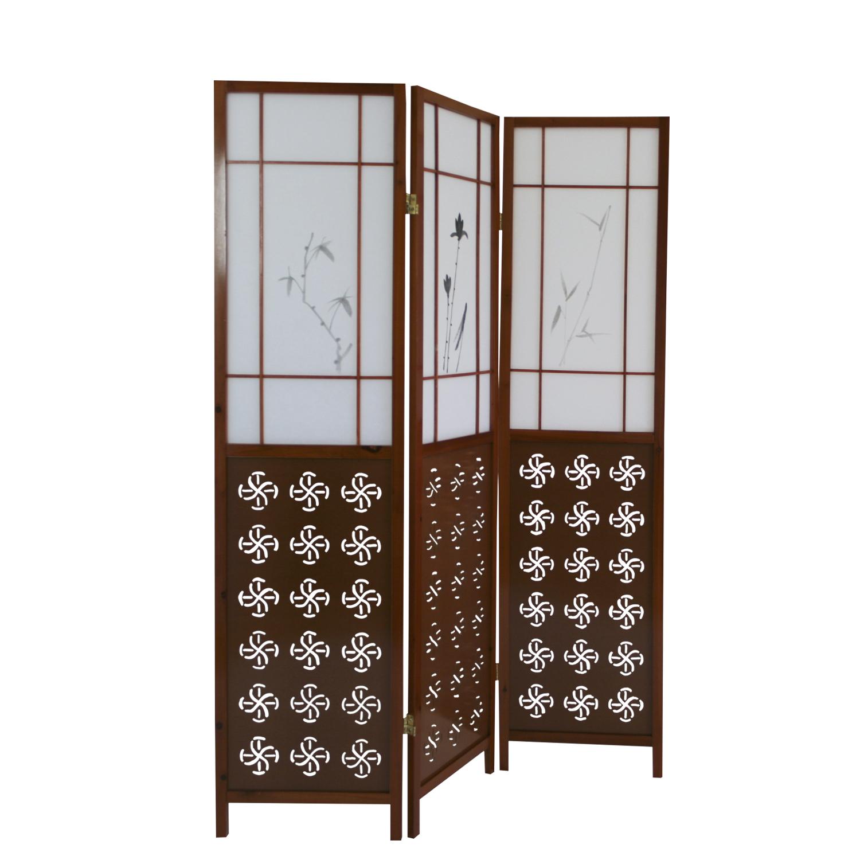 5 fach Paravent Raumteiler Shoji Trennwand Spanische Wand Bambus Sichtschutz